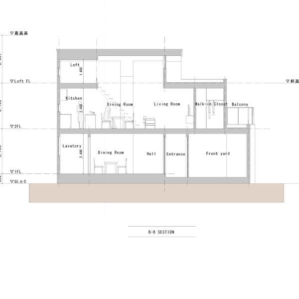 東京 小平のデザイン住宅 住宅設計 断面図01 中庭と前庭のある二