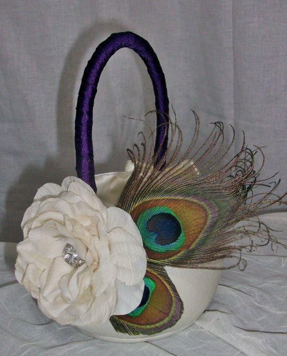 Ivory Peacock Flower Girl Basket Ivory or by DESIGNERSHINDIGS, $34.00