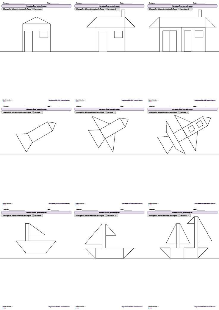 10 dessins amusants reproduire l 39 aide de figures g om triques de la gs au ce1 cole. Black Bedroom Furniture Sets. Home Design Ideas