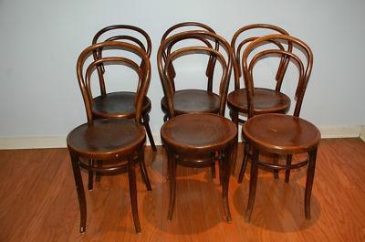 Antique Thonet Style Mundus And J J Kohn Bentwood Chairs Set Of 6 Bent