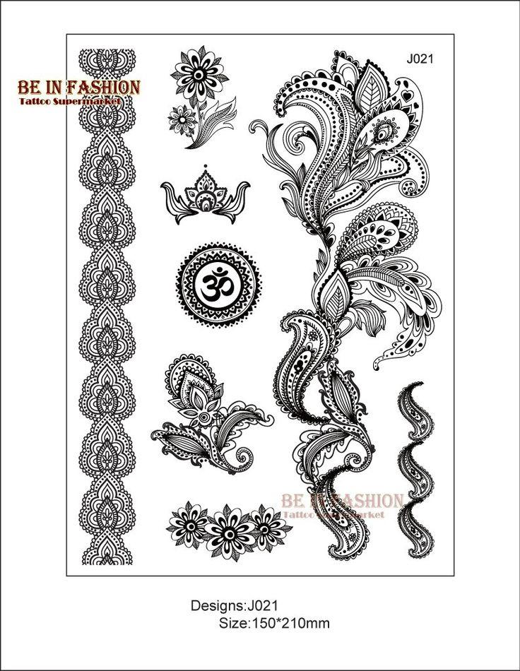 Aliexpress.com: Koop 1 vel zwart wit henna taty nep kant metalic tijdelijke tattoo stickers, trendy tatoeages flash arabische tatto tatoos nieuwe j021b van betrouwbare tattoo sleeve leveranciers op BE IN FASHION
