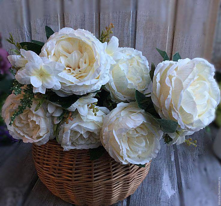 Купить Английские (пионовидные) розы - белый, букет роз, английские розы, искусственные розы