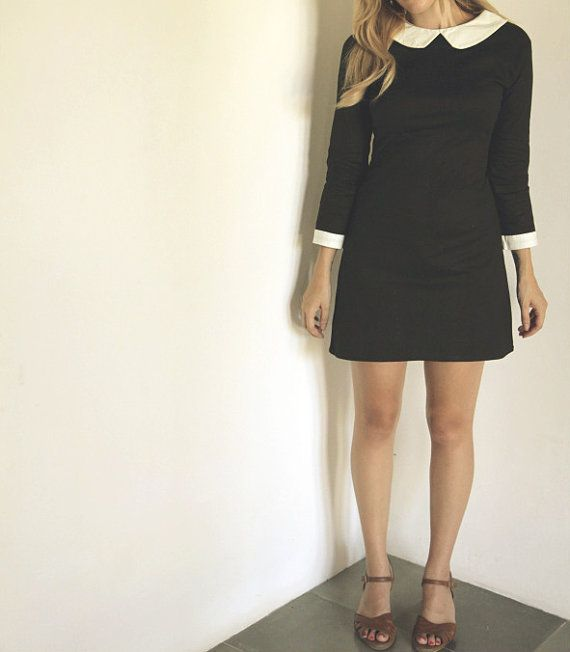 Black dress with white round peter pan collar by FrenchieYork