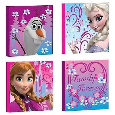 Canvas Wall Art 4 Pack Frozen Room Decor Bedroom Home Square Anna Elsa Olaf New