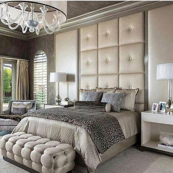 grey and champagne bedroom