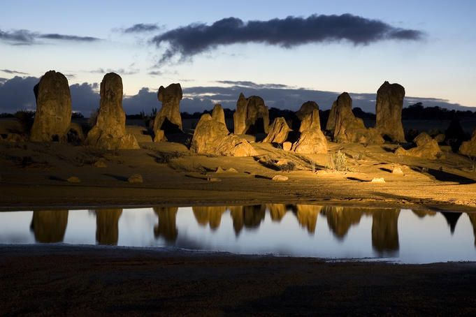 A very interesting shot of the Pinnacles reflected in a puddle #WesternAustralia