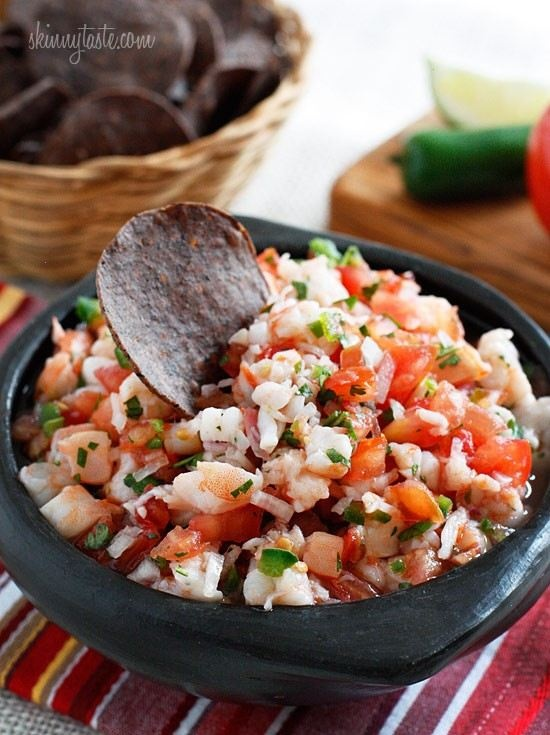 Shrimp Salsa  Calories: 74.9 • Fat: 0.9g  Ingredients:  16 oz cooked peeled shrimp, diced  4 vine ripe tomatoes, diced fine   6 tbsp red onion, finely diced   3 tbsp jalapenos, diced fine   2 tbsp minced cilantro   2 limes, juice    1/2 tsp  salt     Directions:    Combine onions, tomatoes, salt and lime juice in bowl and let it sit about 5 minutes. Combine the remaining ingredients in a large bowl, taste for salt and adjust. Refrigerate at least an hour before serving.