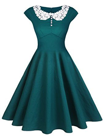 ACEVOG Women's Classy Vintage Audrey Hepburn Style 1940's Rockabilly  Evening Dress at Amazon Women's Clothing store