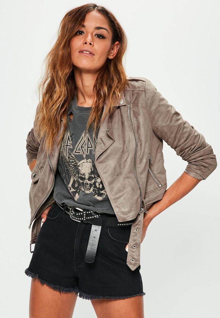 Missguided - Brown Faux Suede Biker Jacket