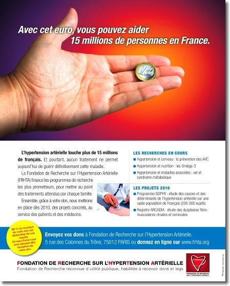 Campagne de mobilisation de dons pour la Fondation de Recherche sur l'Hypertension Artérielle.:  Internet Site,  Website, Web Site