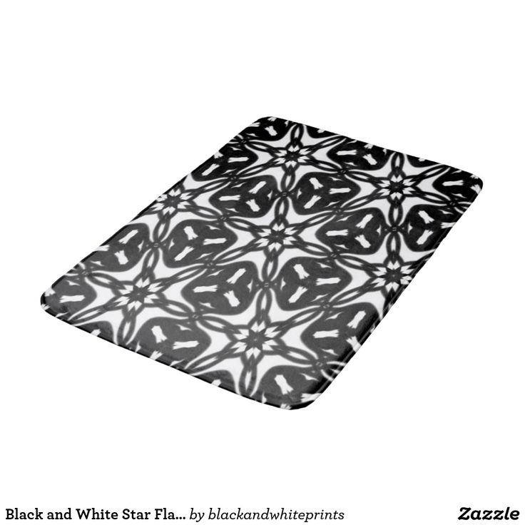 Black and White Star Flakes 9867 Bathroom Mat