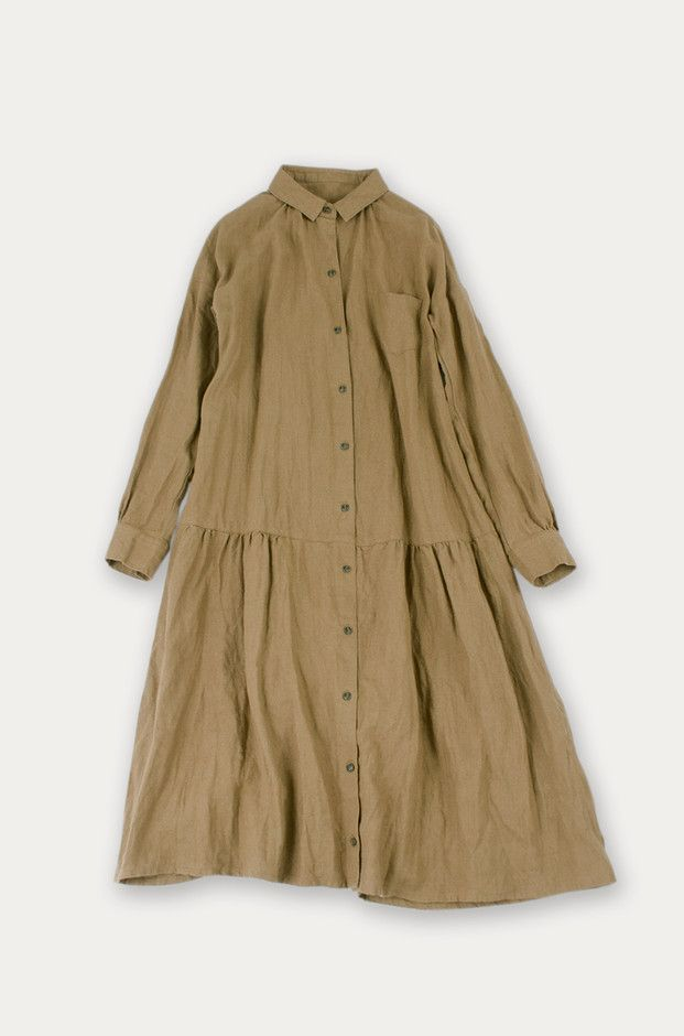 nest Robe : リネンキャンバスシャツワンピース