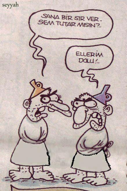 - Sana bir sır versem tutar mısın?.. + Ellerim dolu!.. #karikatür #mizah #matrak #komik #espri #hunili