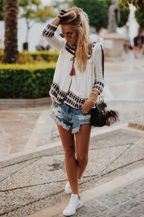 boho top + distressed shorts