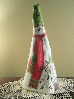 Wood-N-Stitches:  My original snowman design hand painted on a cypress knee.