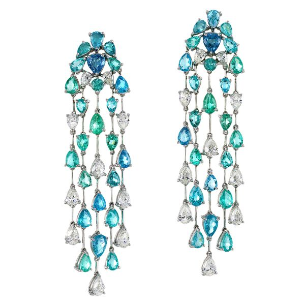 Amsterdam Sauer Pendant - Earrings in white gold with Paraiba tourmalines and diamonds