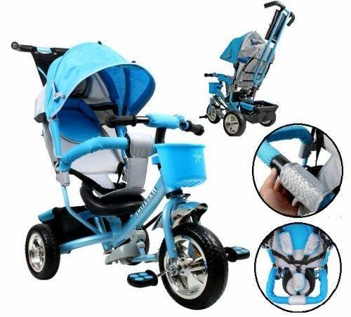 4 in 1 Kids Trike Tricycle 3 Wheel Blue Smart Ride Bike Parent Handle Sun Roof