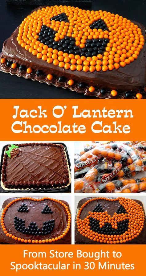 Easy Jack O Lantern Chocolate Cake - from Store Bought to Spooktacular in less than 30 minutes. We have all the directions you'll need to create an amazing Halloween Cake with Sixlets and store-bought cake. Your Halloween Party guests will be amazed at your cake decorating skills and nobody needs to know how easy it was to create this fun Halloween Treat. Follow us for more fun Halloween Food Ideas.
