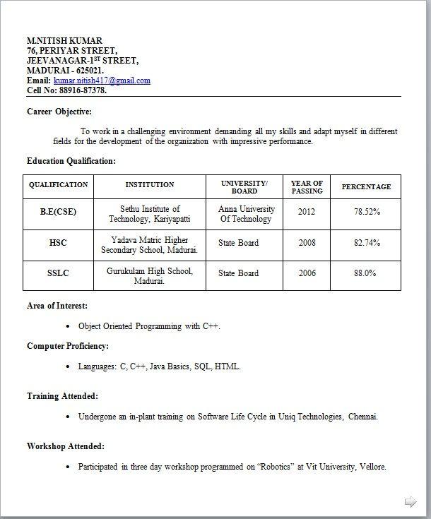 resume model for teacher fresher