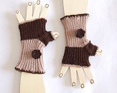 Children  Fingerless Gloves -  Brown and Old Rose - Decorated with lovely felted flowers: Rose
