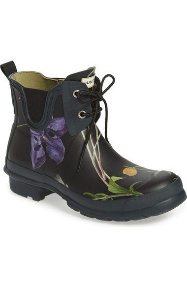 Hunter 'Royal Horticultural Society' Waterproof Lace-Up Short Rain Boot (Women) available at #Nordstrom