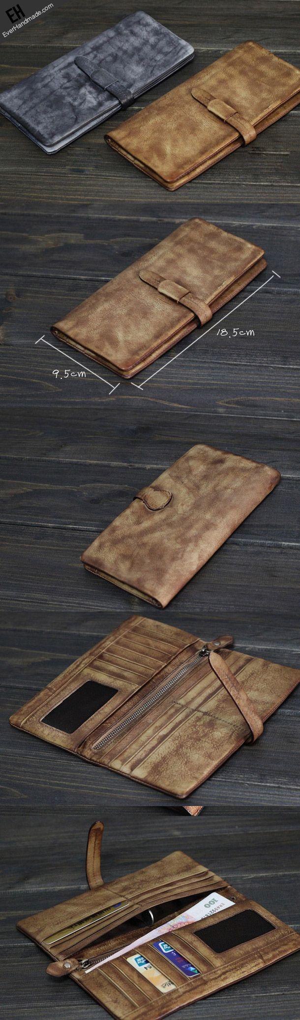 Handmade Men long leather wallet men multi card slots vintage brown gray wallet for him