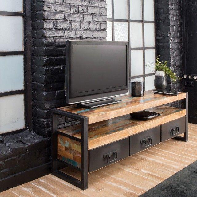 Meuble Tv Industriel 3 Tiroirs Bois Et Metal Meuble Tv Industriel Meuble Tv Bois Meuble Tv Design