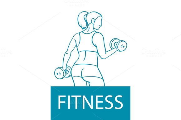 athletic woman with dumbbells by Rommeo79 on @creativemarket