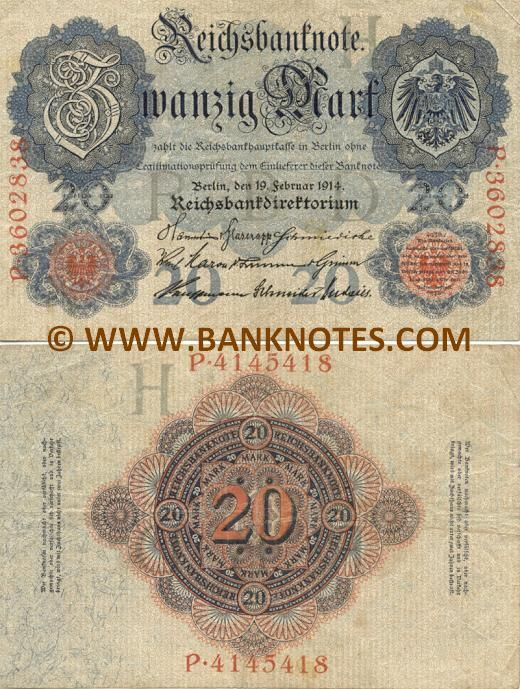 """Germany 20 Mark 1914 Obverse: Coat of arms; Reverse: Guilloche rosettes with multiple denominations """"20"""". Watermark: """"20"""" in a circle repeated throughout."""