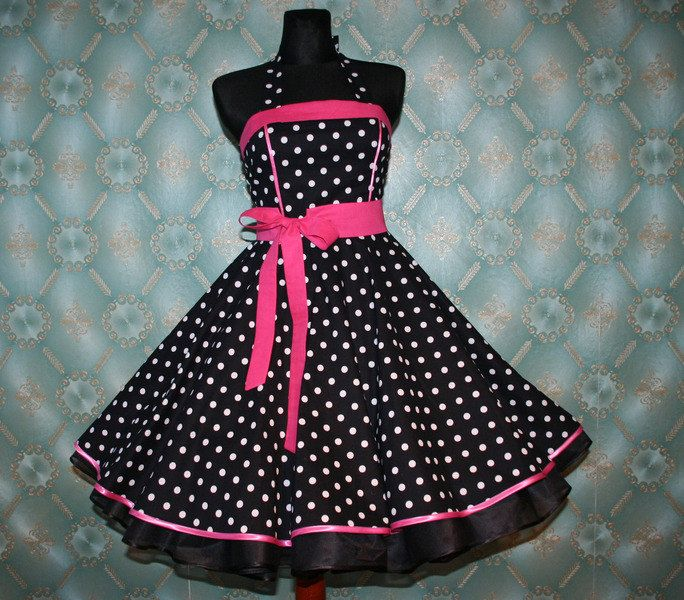 50's vintage dress full skirt black white pink polka dots Retro Dress Tailor Made. $99.00, via Etsy.