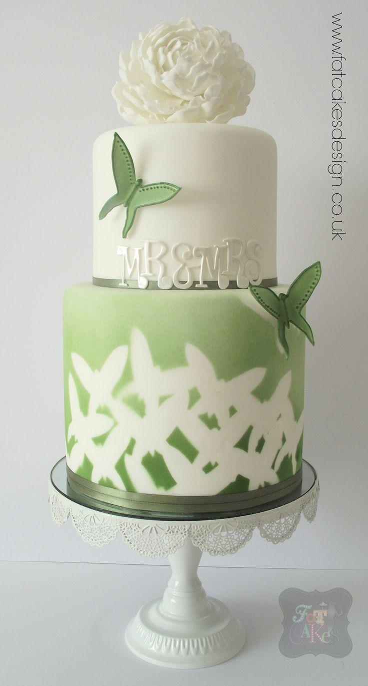 Green and white wedding cake. Butterfly silhouette design. Full white peony. Mr and Mrs.