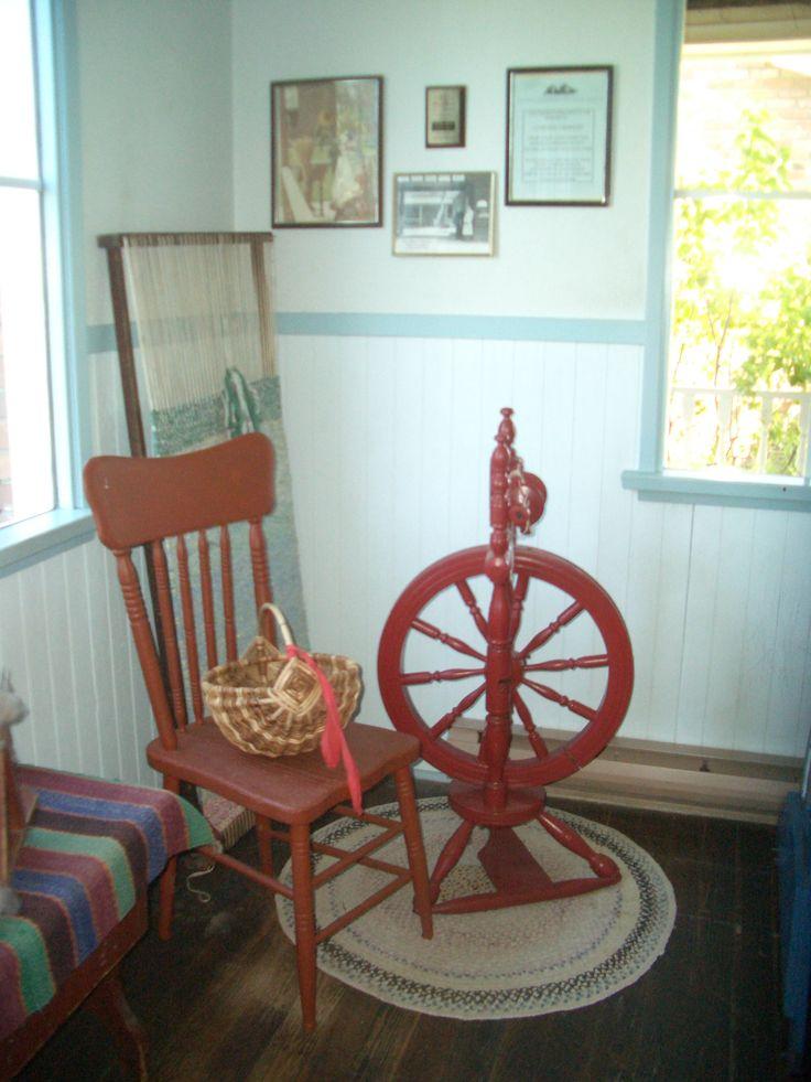 A Doukhobor spinning wheel and a floor loom.