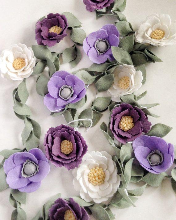 Flower Nursery Decor  Felt Garland  Wedding Garland от thegreyrose
