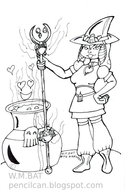 Pencil Can: Inktober Day 2 A drawing of a sexy witch for Inktober 2016. Inktober 2016, #Inktober 2016, Ink, Linework, Witch, Drawing, Art, Cauldren, Skulls, hearts, Sexy,Cartoon, Woman. #Ink, #Linework, #Witch, #Sexy, #Cute, #Cartoon. Made with Pentel Mechanical Pencil, Sakura Pigma Pens and a Prismacolor Brush Pen on Canson Watercolor Paper. #Ink, #Inking, #Canson, #SakuraPigma, #Prismacolor, #Pentel. #WMBAT, #Wombat, #Art