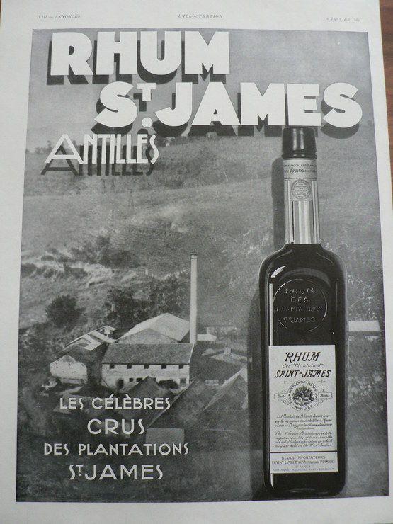 Publicite Annees 1930 Alcool Rhum Saint James Plantation