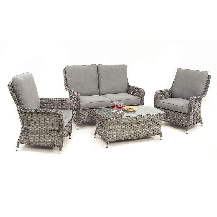 maze rattan victoria grey high back sofa set dunelm