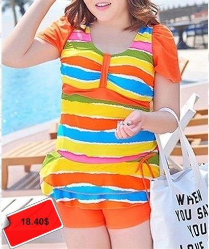 Trendy Push-Up Multicolor Striped Plus Size Two Piece Swimsuit For Women
