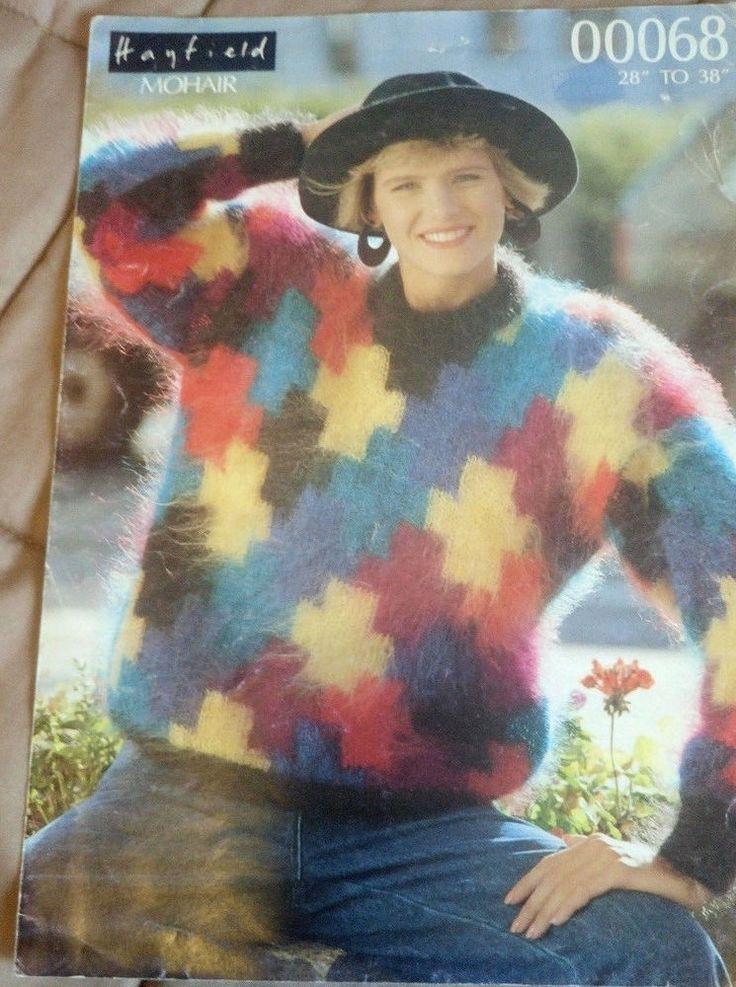 Women's Geometric Sweater Mohair Hayfield 00068 knitting ...