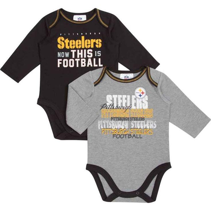 pittsburgh steelers infant black u0026 grey longsleeve bodysuit 2 pack - Pittsburgh Steelers Merchandise