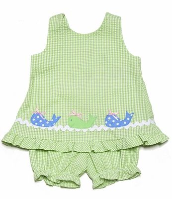 Funtasia Infant / Toddler Girls Lime Green Check / Blue Whales Popover & Bloomers Set