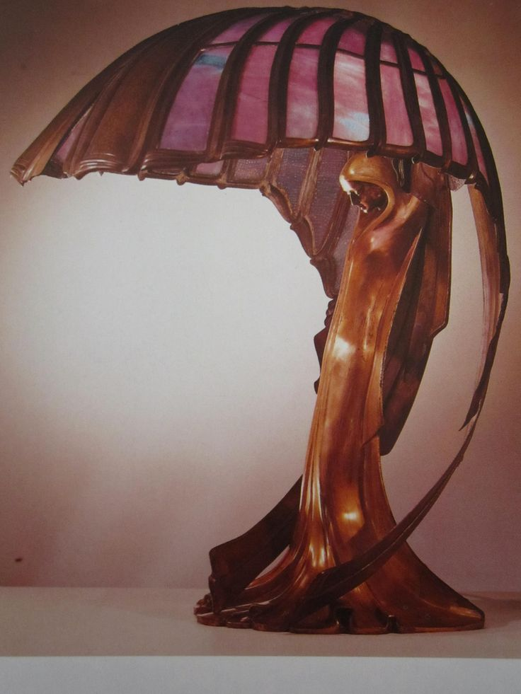 A beauty | Art Nouveau lamp -Peter Behren's Table Lamp, Darmstadt, Germany 1902, bronze & colored glass (peekadora.tumblr.com/page/25)