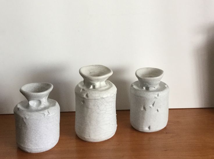 Small forms white crackle glaze