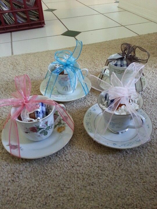 Bridal shower tea party  GAME PRIZES: get teacups from thrift shops and place prizes inside for people who win the games