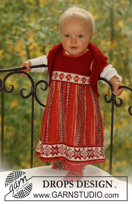 "Knitted DROPS dress, bolero and socks in ""Fabel"" and ""Alpaca"". Size 1 mo. to 3 yrs."