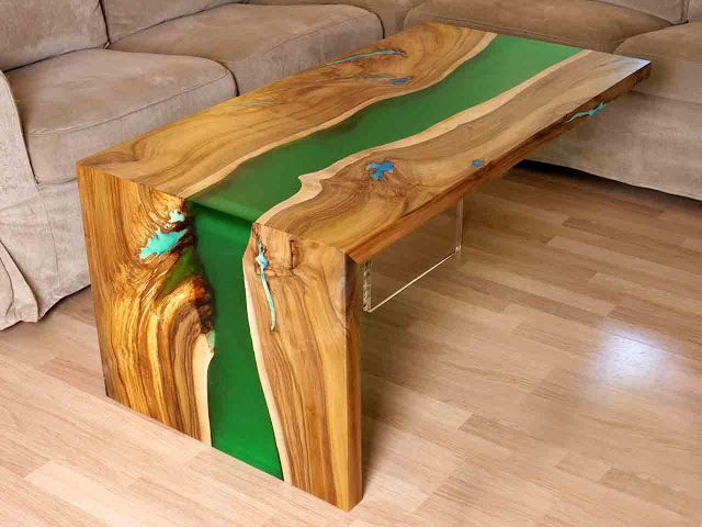 How To Make Epoxy Resin Table Step By Step Table Basse Bois Table Basse Meubles En Resine