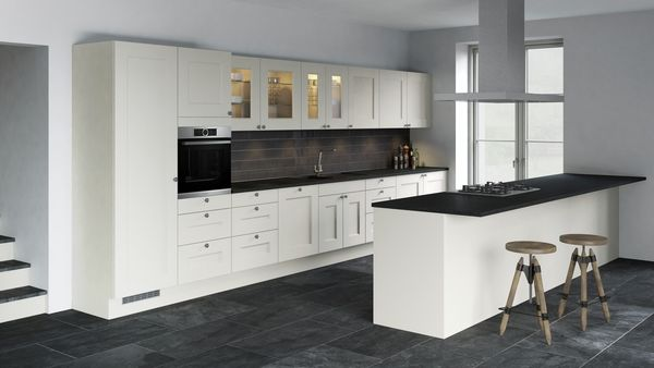 Built-in oven at eye level, Gas cooktop, Fully integrated dishwasher 60 cm