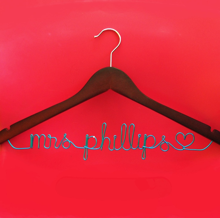 Wedding Hanger - turquoise wire - Custom Bridal hanger Personalized wire writing. $19.99, via Etsy.