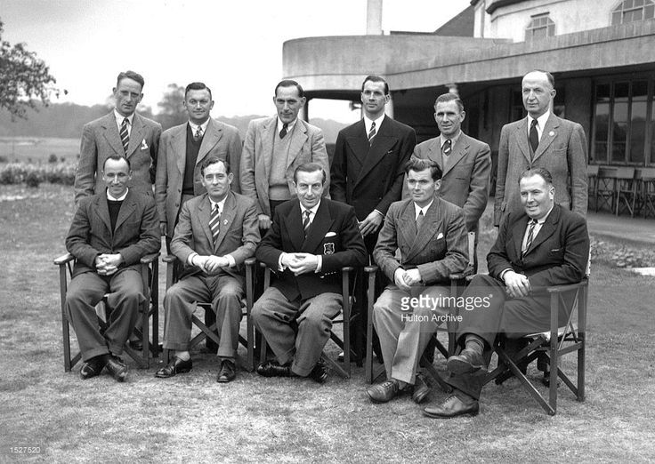 Great Britain's Ryder Cup golf team: (back row l-r) E Green, A Lees, SL King, Max Faulkner, RW Horne and Commander Roe(Manager) (front row l-r) CH Ward, Fred Daly, Henry Cotton (Capt.) Dai Rees, James Adams. They are pictured at the Mid- Surrey Golf Course, Richmond. Mandatory Credit: Allsport Hulton/Archive