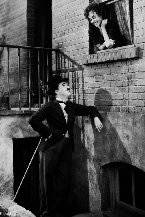 Charlie Chaplin and Paulette Goddard in The Great Dictator.