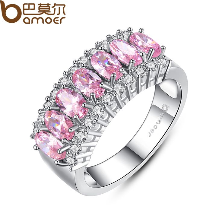 BAMOER White Gold Filled Pink Created Sapphire Finger Ring Lady's 10KT Finger Rings  Fashion Jewelry YIR050